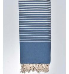 Serviette de plage deouble dimension bleu moyen avec rayures blanche 2m/2m