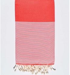 Light red honeycomb beach towel