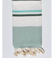 Cream white chevron, grass green and water green beach towel