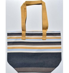 Beach bag 5 colors, coffee, midnight blue, light ecru and mustard with yellow strap