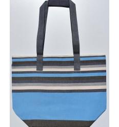 sac de plage 5 couleurs marron,bleu azur,bleu jean,blanc créme et gris