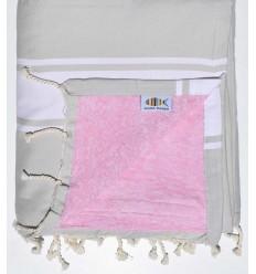 Fouta plate doublée éponge couleur mastic et rose