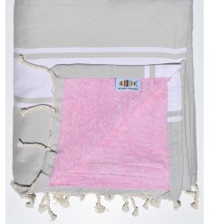 Serviette de plage doublée éponge couleur mastic et rose