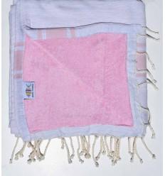 Fouta doublée éponge gris clair et rose bébé
