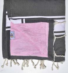 Fouta plate doublée éponge gris moyen et rose clair