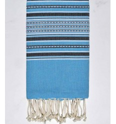 Fouta arabesque couleur bleu azur