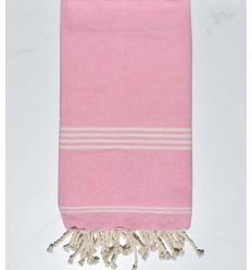 Serviette de plage mykonos rose dragée