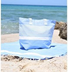 Arthur blue and white beach bag