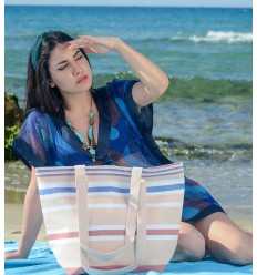 Burlywood, white, carmine red and blue Beach bag