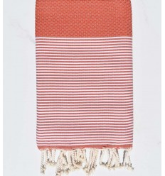 Fouta nid d'abeille rouge tomette avec rayures
