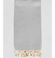 Copriletto grigio chiaro con lurex