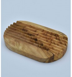 Oval olive wood soap dish