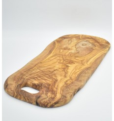 Olive wood cutting board with hole from 52cm to 62cm