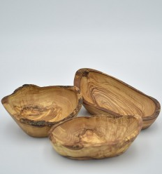 3 olive wood rustic dishes