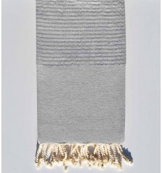 Fouta plate gris avec lurex argenté