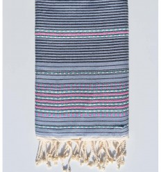 Beach towel arabesque blue with pink stripes