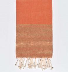 burnt orange beach towel with silver lurex