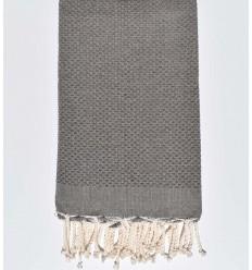 plain honeycomb medium taupe brown beach towel