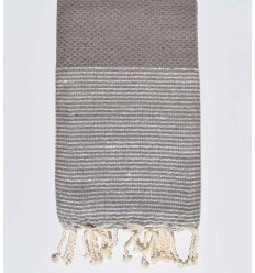sepia beach towel with golden lurex