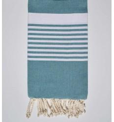 teal arthur beach towel with stripes