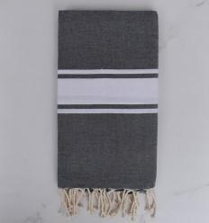 Fouta plate gris moyen