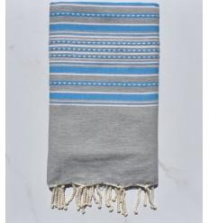 Towel light gray arabesque with blue stripes