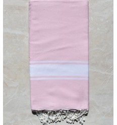 light pink throw with white stripe 2m*2m