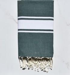 beach towel flat green empire  White strip