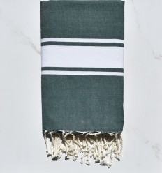 Fouta plate vert empire bande blanche