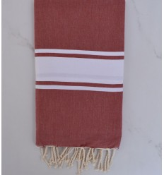 beach towel flat  red bismark  dark White strip
