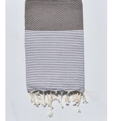 Fouta recyclée nid d'abeille taupe