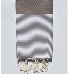 Beach towel Honeycomb chestnut with stripes