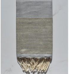 Fouta lurex plate gris clair au fil lurex doré
