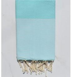 nid d'abeille turquoise clair rayée blanc
