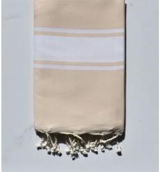 beach towel flat yellow-beige, pale White strip