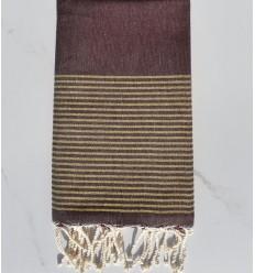 toalha de praia roxo escuro com lurex dourado