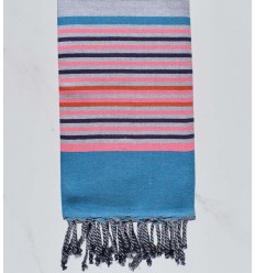 5 colors azure, light pink, dark purple, light gray and carrot fouta