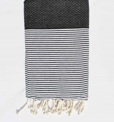 Beach towel cotton recycled honeycomb black