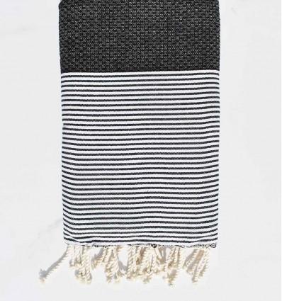 Beach towel cotton recycled honeycomb black