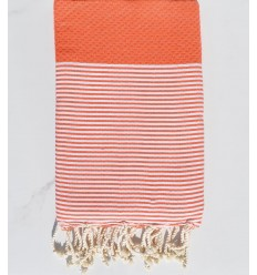 Fouta nid d'abeille Coton recyclée orange