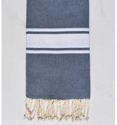 flat beach towel blue grey recycled cotton