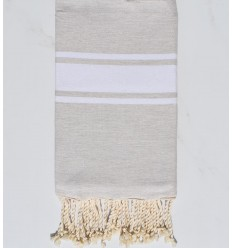 flat beach towel beige cement recycled cotton