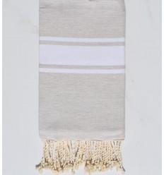 Fouta plate Coton recyclée beige ciment