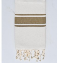 flat beach towel ecru and green olive recycled cotton