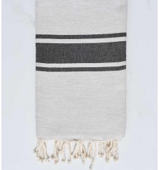flat beach towel recycled cotton beige cement and slate gray