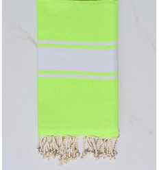 Fouta plate Coton recyclée vert fluo