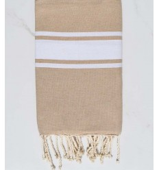 Fouta plate Coton recyclée taupe clair