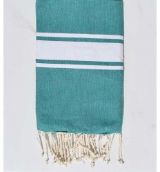 Fouta plate Coton recyclée vert turquoise