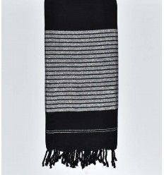 cubre cama negro con hilo de lurex plateado