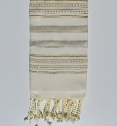 Beach towel gray with golden lurex thread